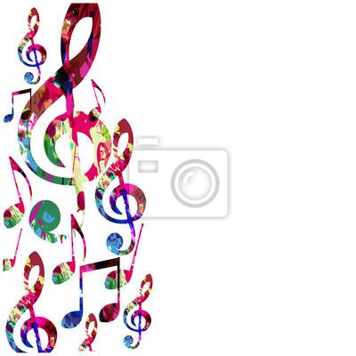Bunte musik noten isoliert vektor-illustration. musikhintergrund ...