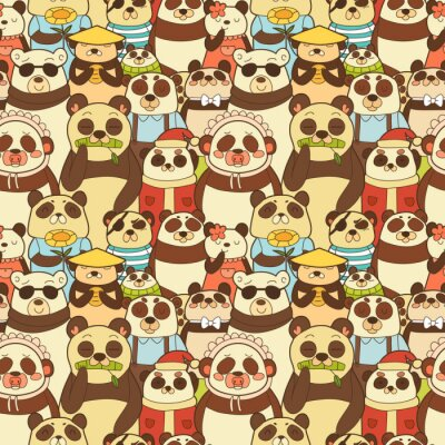 Fototapete Bunte nahtlose Muster mit lustigen Pandas