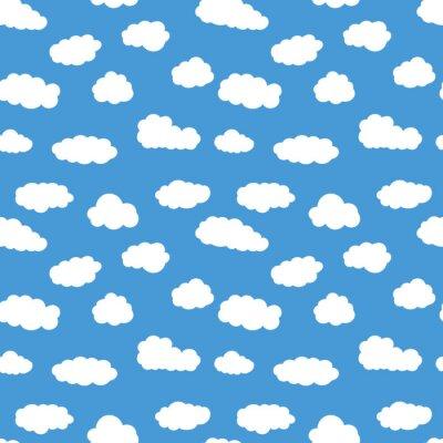 Bunte nahtlose muster mit weißen wolken. hand gezeichnet ...