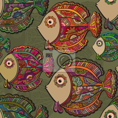 Bunte nahtlose Muster von vielen schönen dekorativen fishe