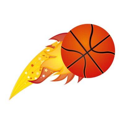 Bunte olympische Flamme mit Basketball-Kugel Vektor-Illustration