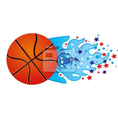 Bunte olympische Flamme mit Sternen und Basketball Ball Vektor-Illustration