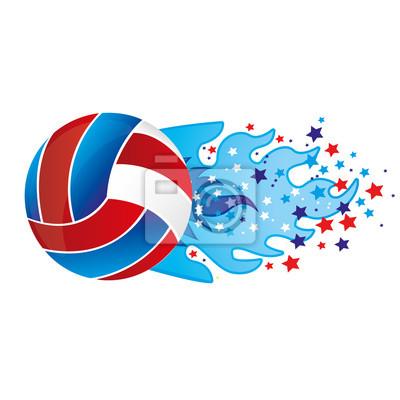 Bunte olympische Flamme mit Sternen und Volleyball Ball Vektor-Illustration