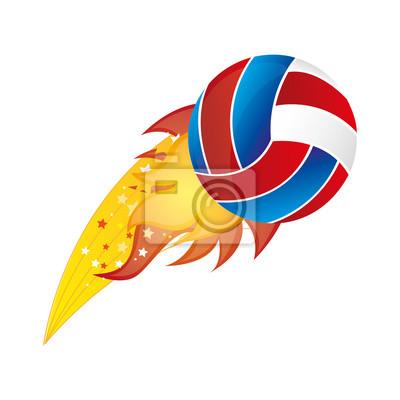 Bunte olympische Flamme mit Volleyball-Kugel Vektor-Illustration