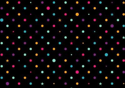 Fototapete Bunte Punkte Schwarzer Hintergrund Vektor-Illustration