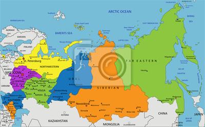 Karte Russland.Fototapete Bunte Russland Politische Karte Mit Deutlich Beschriftet Getrennte