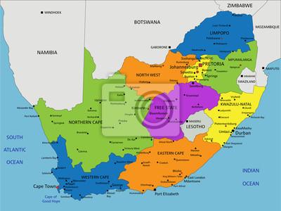 Südafrika Karte.Fototapete Bunte Südafrika Politische Karte Mit Deutlich Beschriftet Getrennte