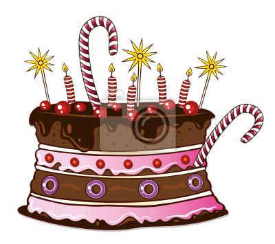Bunte Torte Kuchen Zum Geburtstag Kirschen Fototapete