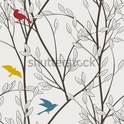 Fototapete bunte Vögel und Zweige