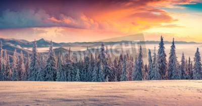 Fototapete Bunte Winter Sonnenaufgang in den Bergen.