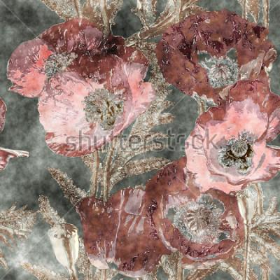 Fototapete buntes nahtloses mit Blumenmuster des Kunstweinlese-Aquarells mit dunkelroten Mohnblumen, Blättern und Gräsern auf Hintergrund