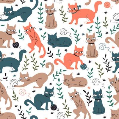 Fototapete Buntes nahtloses Muster mit Katzen und Blättern.