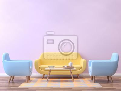 Holzfußboden Wohnzimmer ~ Buntes wohnzimmer mit pastellfarb3d wiedergabe bild es gibt