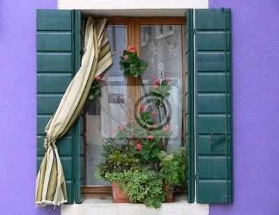 Burano fenster mit blumenkasten vor lila hauswand fototapete ...