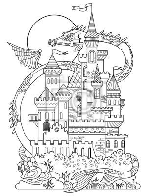 Burg und Drachen Malbuch Vektor