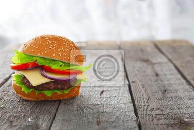 Burger Hamburger Cheeseburger Auf Tisch Holz Fototapete