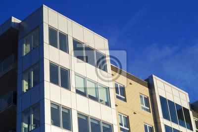 Buro Fassade Geschaftsarchitektur Perspektive Wolkenkratzer