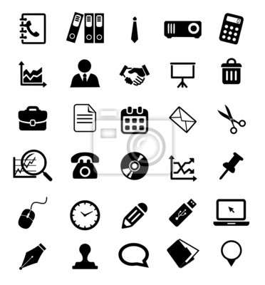 Buro Icon Set Vektor Fototapete Fototapeten Computer Schere