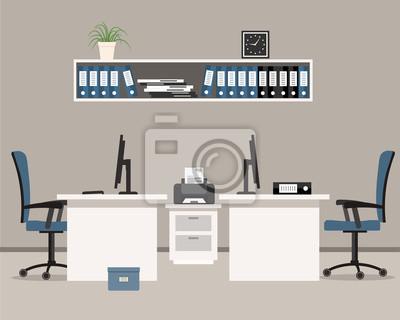 Fototapete Büro In Einer Grauen Farbe. Arbeitsplatz Für Zwei  Büroangestellte Mit Weißen Möbeln Und Blauen