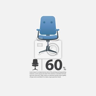 Fototapete Bürostuhl In Flachem Design Für Wohnzimmer Interieur. Minimal  Symbol Für Möbel Verkauf Poster.