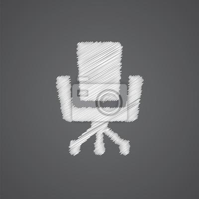 Bürostuhl skizze  Fototapete: Bürostuhl skizze logo doodle icon.