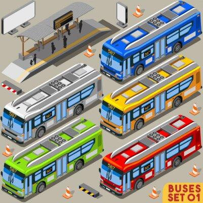 Fototapete Bus Set 01 Vehicle Isometric