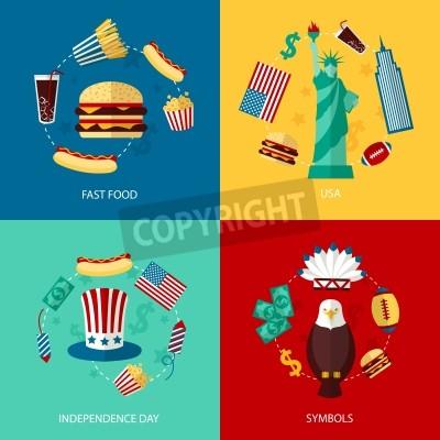 Fototapete Business concept Flach Symbole Reihe von USA Sehenswürdigkeiten und Fast-Food-Unabhängigkeitstag Symbole Infografik Design-Elemente Vektor-Illustration