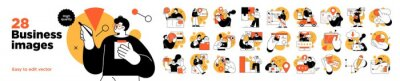 Fototapete Business Concept illustrations. Mega set. Collection of scenes with men and women taking part in business activities. Vector illustration