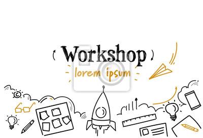 Fototapete business development workshop concept sketch doodle horizontal isolated copy space