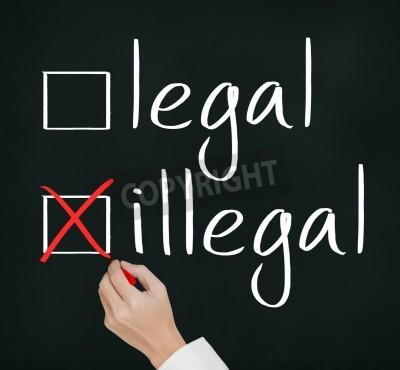 Business Hand schreiben rotes Häkchen für illegale Auswahl