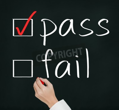 business hand writing red check mark for pass selection