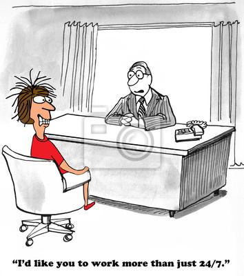 Business Karikatur Uber Die Arbeit Rund Um Die Uhr Fototapete