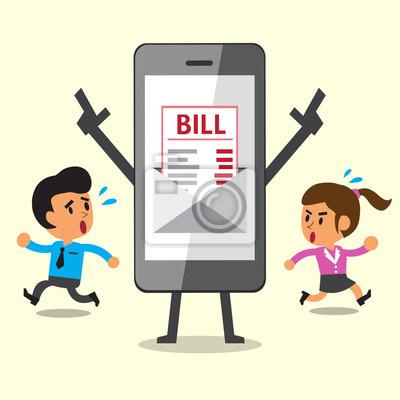 Fototapete Business Konzept Cartoon Smartphone Zeigen Elektronische Rechnung