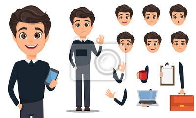 Fototapete Business-Mann-Cartoon-Charakter-Erstellung gesetzt. Junge gut aussehend lächelnd Geschäftsmann in smart casual. Bauen Sie Ihr persönliches Design - Stock Vektor
