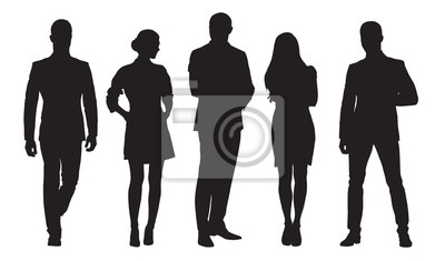 Fototapete Business men and women, group of people at work. Isolated vector silhouettes
