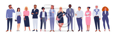 Fototapete Business multinational team. Vector illustration of diverse cartoon men and women of various races, ages and body type in office outfits. Isolated on white.