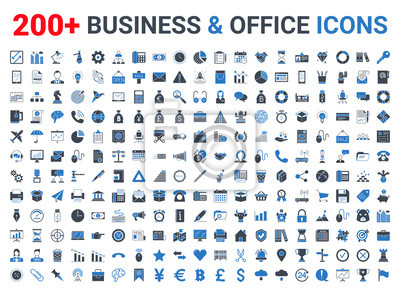 Fototapete Business, office, finance icons set. Blue and Black
