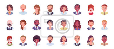 Fototapete Business people avatar big bundle set. Businessmen and businesswomen face icons, character pic to represent online user in social net. Vector flat style cartoon illustration isolated, white background