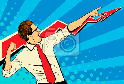 Fototapete Business success businessman showing the top of the chart and screaming with joy. Retro style pop art. White adult male Caucasian