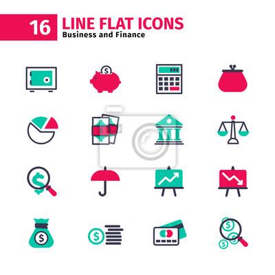 Business-Symbol in flachen Linien-Stil gesetzt