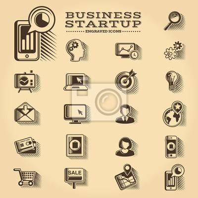 Business und Startup gravierten Icons gesetzt