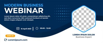 Fototapete Business webinar horizontal banner design. Modern banner design with dark blue and white background color and place for the photo.
