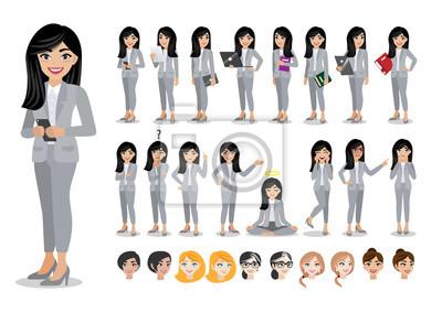 Fototapete Businesswoman cartoon character set. Beautiful business woman in office style smart suit . Vector illustration