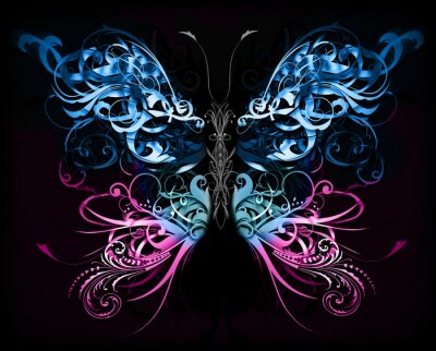 Fototapete butterfly made of flourish abstract shapes