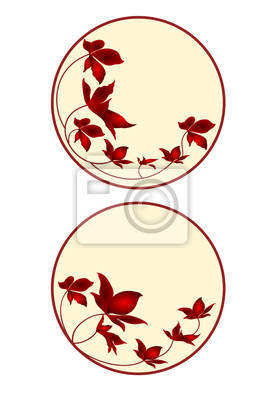 Buttons, Banner, Visitenkarten, Kreis mit Blumen dritten Satz