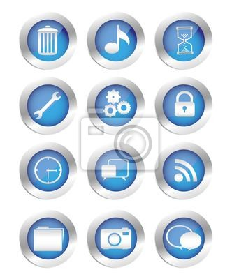 Buttons mit Icons Silhouetten