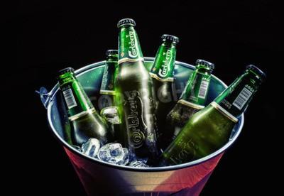 Fototapete Cacak, Serbien - 30. März 2016: Sechs Flaschen Carlsberg Bier im Eimer, für eine Gruppe von Menschen gedient.