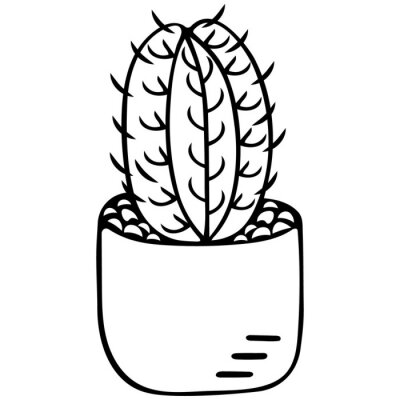 Cactus in a pot. Indoor plant with thorns. Monitor electromagnetic radiation protection. Vector illustration. Contour on an isolated white background. Doodle style. Sketch. Coloring book for children.