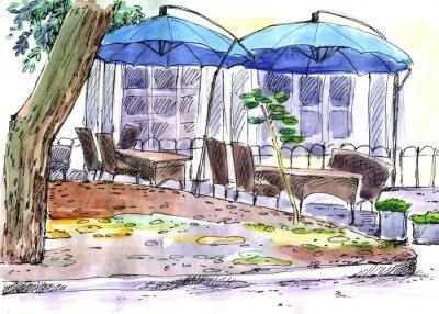 Fototapete Cafe auf der Straße. Blaue Regenschirme, Aquarell