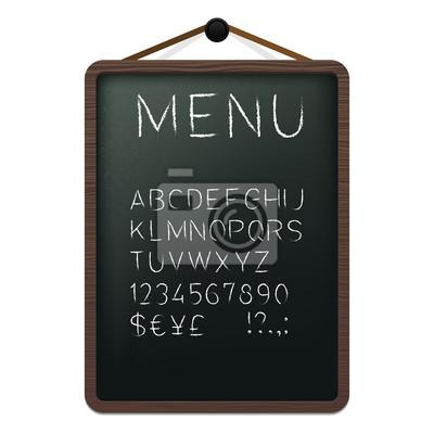 Cafe Menü Board mit Kreide Alphabet. Vektor-Illustration.